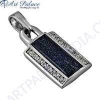 Ingenious Blue Sandstone & Zirconia Silver Pendant