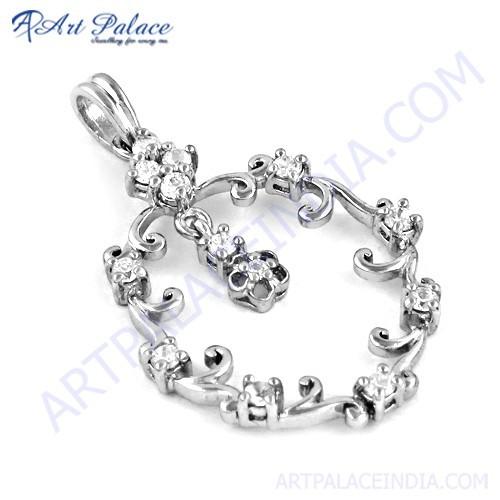 Feminine Unique Designer Cubic Zirconia Gemstone Silver Pendant