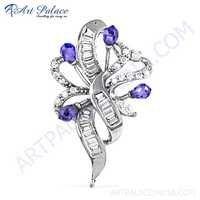 Handcrafted Amethyst Zircon & Cubic Zirconia Silver Pendant