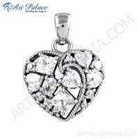 Lovable Heart Style Cubic Zirconia Gemstone Silver Pendant