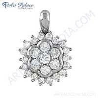 Handcrafted Cubic Zirconia Gemstone Silver Pendant