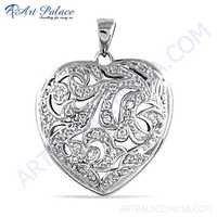 Designer Heart Style Cubic Zirconia Gemstone Silver Pendant