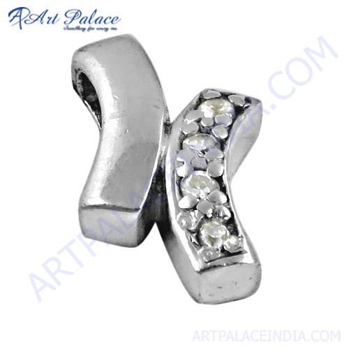 Trendy Cubic Zirconia Gemstone Silver Pendant