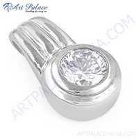 New Shiney Cubic Zirconia Gemstone Silver Pendant