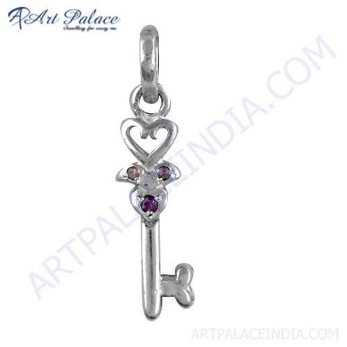 Trendy Key Style Amethyst Zircon Gemstone Silver Pendant