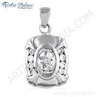 Attreactive Cubic Zirconia Gemstone Silver Pendant, 925 Sterling Silver Jewelry