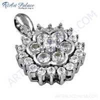 Precious Antique Cubic Zirconia Gemstone Silver Pendant