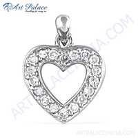 Romantic Heart Style Silver Pendant With Cubic Zirconia