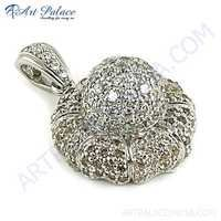 Handcrafted Multi Color Cubic Zirconia Silver Pendant