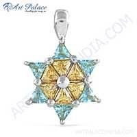 Rocking Star Style Blue & Pitch Cubic Zirconia Gemstone Silver Pendant