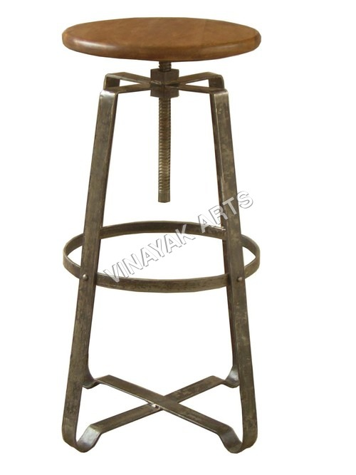 Iron Tall spin up stool with wood top