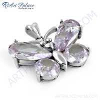 Cute Butterfly Style Amethyst Zircon Silver Pendant