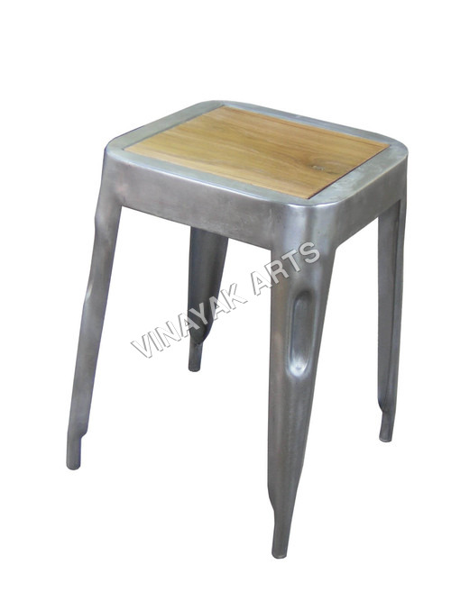 industrial furniture - small stool teak top