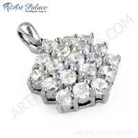 Charming Cubic Zirconia Gemstone Silver Pendant