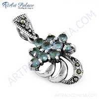 Famous Designer Black Zirconia & Blue Topaz Gemstone Silver Pendant