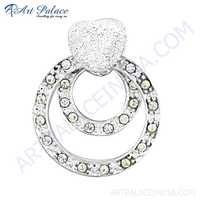 Fabulous Cubic Zirconia Gemstone Silver Pendant
