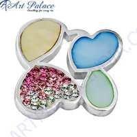 New Stylish Inley,Pink & White Cubic Zirconia Gemstone Silver Pendant