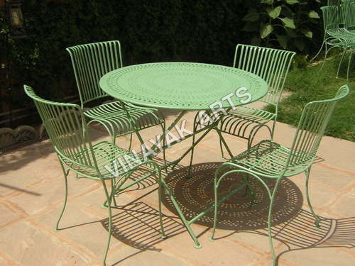 Set of Chair and Folding Round Table