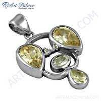 Antique Style Pitch & White Zirconia Gemstone Silver Pendant