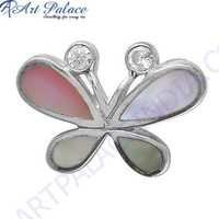 Pretty Butterfly Style Inley & Cubic Zirconia Gemstone Pendant