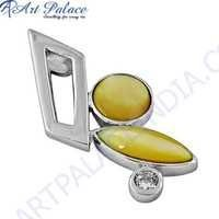 Expensive Mother Of Pearl & Cubic Zirconia Gemstone Silver Pendant