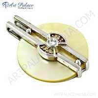 Precious Antique Cz & Pearl Gemstone Silver Pendant