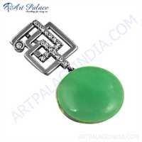 Expensive Green Aventurian & Cubic Zirconia Gemstone Silver Pendant