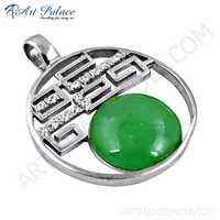 Fashionable Green Aventurian & Cubic Zirconia Gemstone Fret Work Silver Pendant