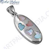 Exclusive Inley Gemstone Silver Pendant