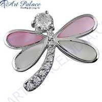 Cute Butterfly Style Cubic Zirconia & Inley Silver Pendant
