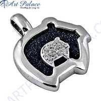 Fashionable Blue Sandstone & Cubic Zirconia Gemstone Silver Pendant