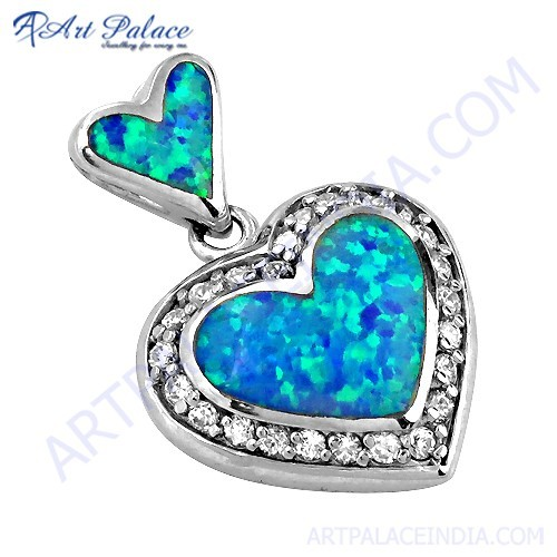 Attractive Heart Style Inley & Cubic Zirconia Silver Pendant