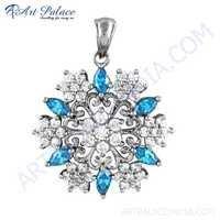 Hot Luxury Blue & White Cz Silver Pendant