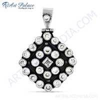 New Arrival Crystal & Cz Gemstone Silver Pendant