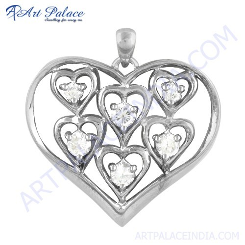 Beautiful Heart Style Cz Gemstone Silver Pendant