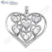 Beautiful Heart Style Cz Gemstone Silver Pendant