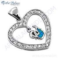 Lovely Heart Silver Pendant With Inley & Cubic Zirconia