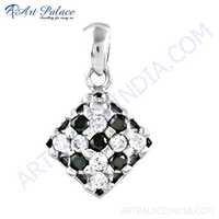 Wholesale Black & White Cz Gemstone Silver Pendant