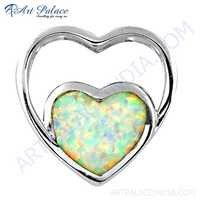 Dual Heart Style Inley Gemstone Silver Pendant
