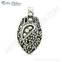 Indian Design Pearl & Black Cz Gemstone Silver Pendany