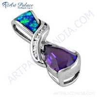 Attractive Amethyst, CZ & Inley Gemstone Silver Pendant
