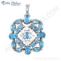 Charming Blue & White Cz Gemstone Silver Pendant
