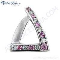 Rocking Style White & Pink Cz Gemstone Silver Pendant