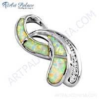 Attractive Style Inley & Cubic Zirconia Gemstone Silver Pendant