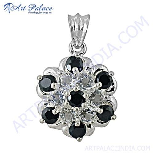 Traditional Flower Style Black & White Cz Gemstone Silver Pendant