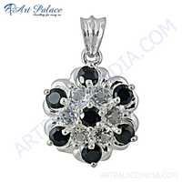 Traditional Flower Style Black & White Cz Gemstone Silver Pendant