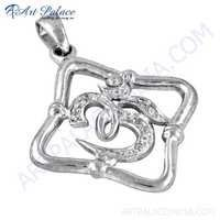Hindu Religious Om Style Cubic Zirconia Gemstone Silver Pendant