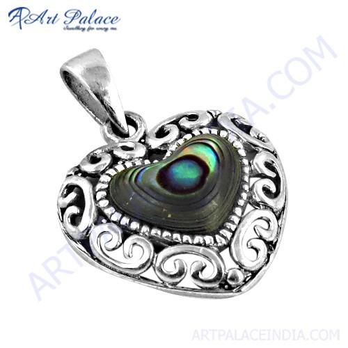 Romantic Heart Designer Silver Pendant With Mabe Pearl