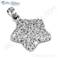 Cute Star Style Gemstone Silver Pendant With Cubic Zirconia