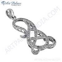 Fret Designer Cubic Zirconia Gemstone Silver Pendant